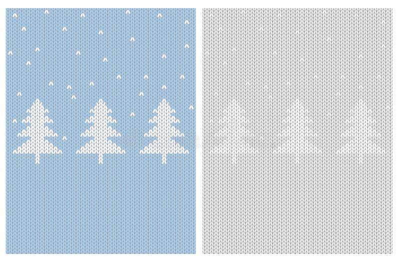 Abstracte Witte Kerstbomen De leuke Gebreide Vectorillustratie van de Stoffenstijl royalty-vrije illustratie
