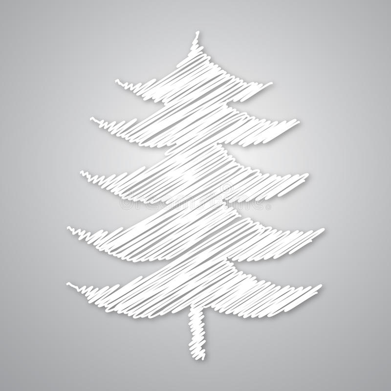 Abstracte witte Kerstmisboom vector illustratie