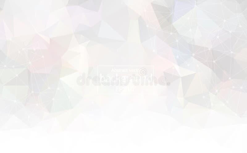 Abstracte Witte Lichte Geometrische Veelhoekige molecule en mededeling als achtergrond Verbonden lijnen met punten Concept de wet royalty-vrije illustratie