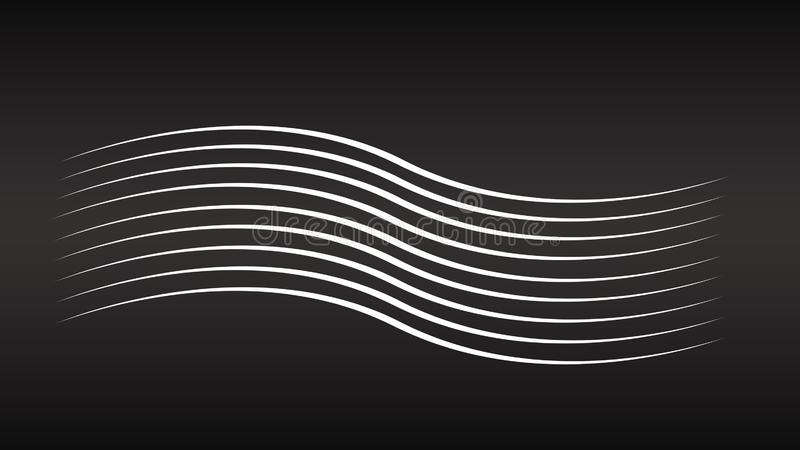 Abstracte witte lijnenachtergronden Geometrische lijnen op de zwarte achtergrond De achtergrond van de golflijn royalty-vrije stock foto's