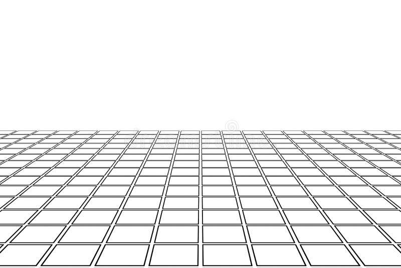 Abstracte witte rechthoekige tegels die de textuur van de patroonoppervlakte en exemplaarruimte vloeren Overzicht van de binnenla stock illustratie
