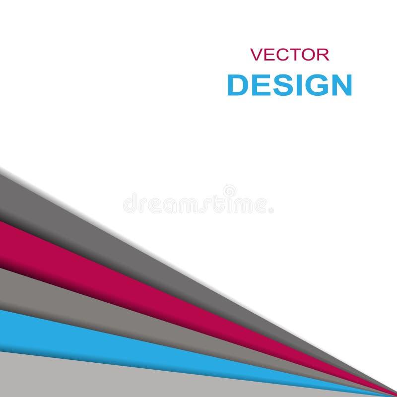 Abstracte witte rode blauwe grijze driehoeksdocument overlappende vectorillustratie als achtergrond stock illustratie