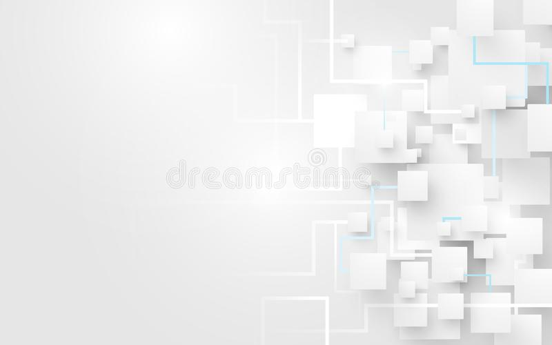 Abstracte witte vierkanten en lijnenachtergrond Futuristisch en technologieconcept vector illustratie