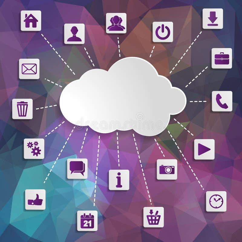 Abstracte wolk die met sociale netwerkenpictogrammen gegevens verwerken op Modern royalty-vrije illustratie