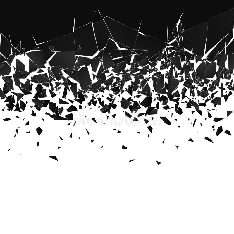 Abstracte wolk van stukken en fragmenten na explosie Verbrijzel en vernietigingseffect Vector illustratie vector illustratie