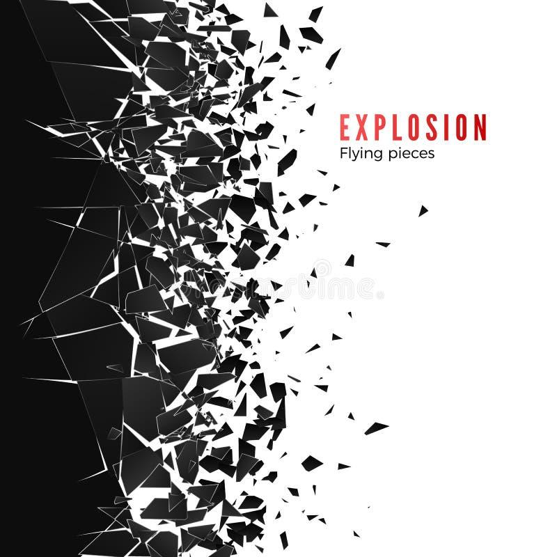 Abstracte wolk van stukken en fragmenten na muurexplosie Verbrijzel en vernietigingseffect Vector illustratie royalty-vrije illustratie