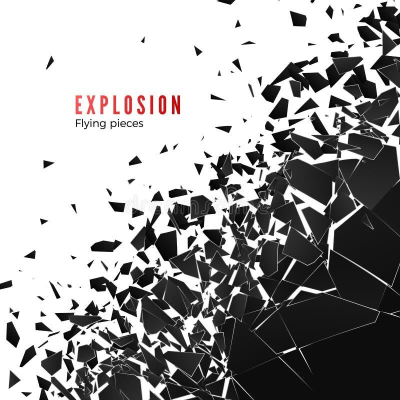 Abstracte wolk van stukken en fragmenten na muurexplosie Verbrijzel en vernietigingseffect Vectordieillustratie op wit wordt ge?s royalty-vrije illustratie