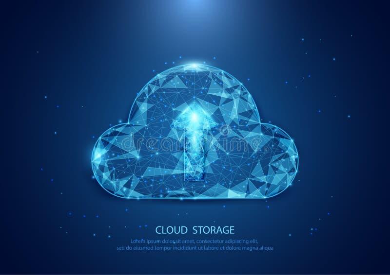 Abstracte wolkenvorm van een sterrige hemeltechnologie Internet, gegevens royalty-vrije illustratie