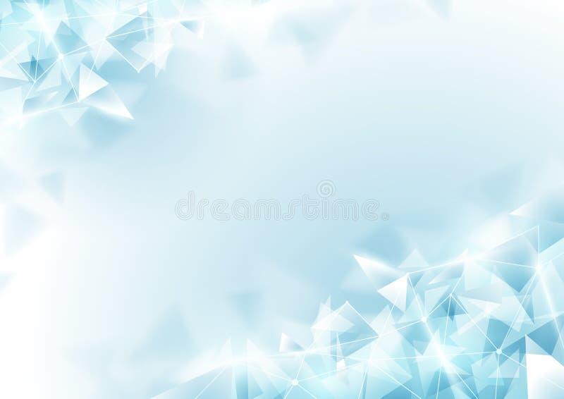 Abstracte zachte blauwe veelhoek en moleculaire achtergrond vector illustratie