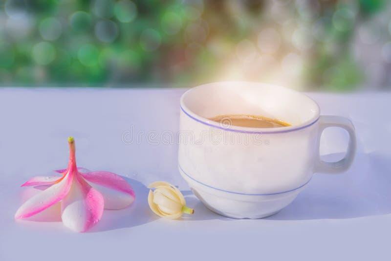 Abstracte zachte vage en zachte nadruk een kop van koffie met Plumeria, Frangipani, alba Michelia, Magnolia, bloemen, bokeh, B stock fotografie