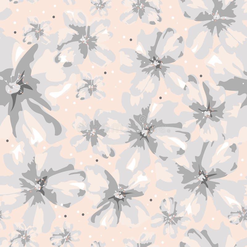 Abstracte zachtheids overladen grijze bloemen op koraalachtergrond vector illustratie