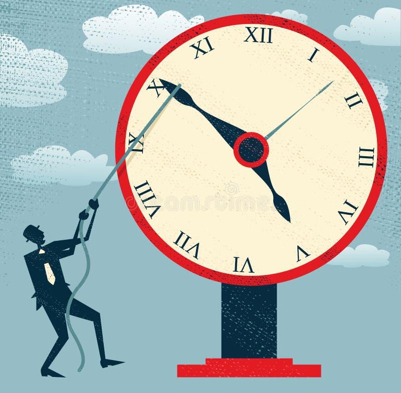 Abstracte Zakenman die Tijd tegenhouden. stock illustratie