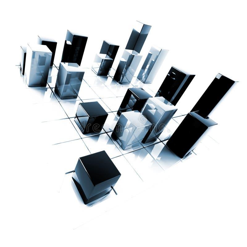 Abstracte zilveren en blauwe metaalkubussen stock afbeelding