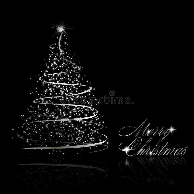 Abstracte zilveren Kerstmisboom op zwarte achtergrond royalty-vrije illustratie