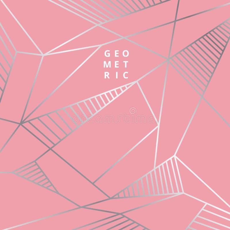 Abstracte zilveren lijn geometrisch op roze achtergrondluxestijl stock illustratie
