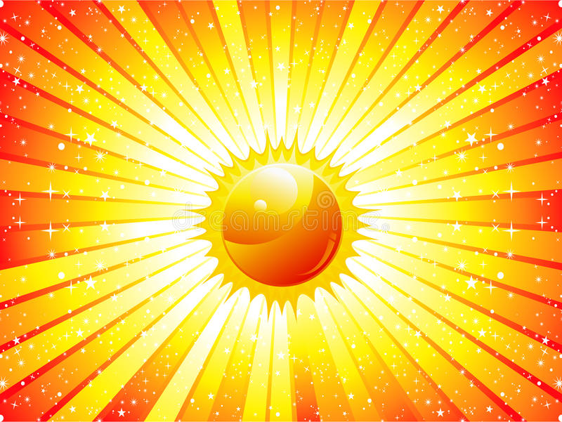 Abstracte zonnestraalachtergrond met zon