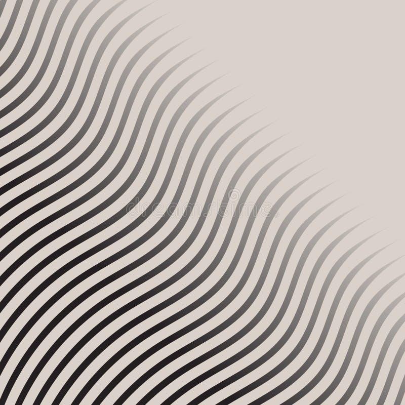 Abstracte zwart-wit het patroon gestreepte halftone vector van golflijnen stock illustratie