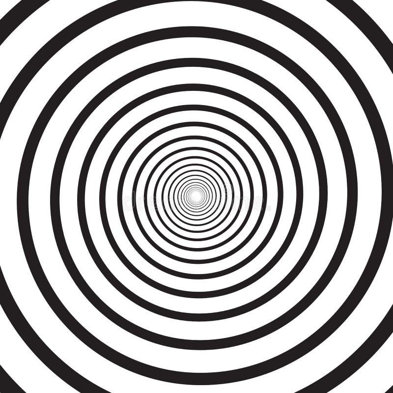 Abstracte zwart-wit psychedelische vierkante achtergrond met cirkelwerveling, schroef of draaikolk Achtergrond met ronde optisch vector illustratie