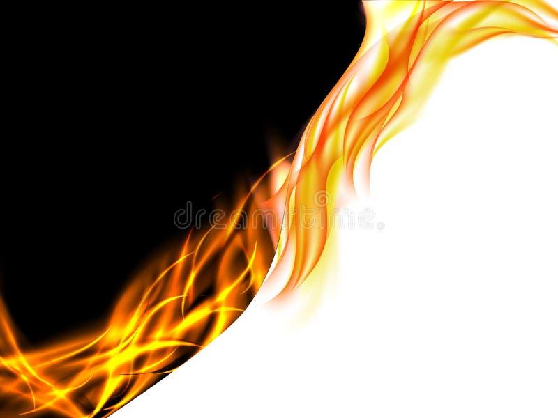 Abstracte zwart-witte achtergrond met vlammen op de scheidingslijn vector illustratie