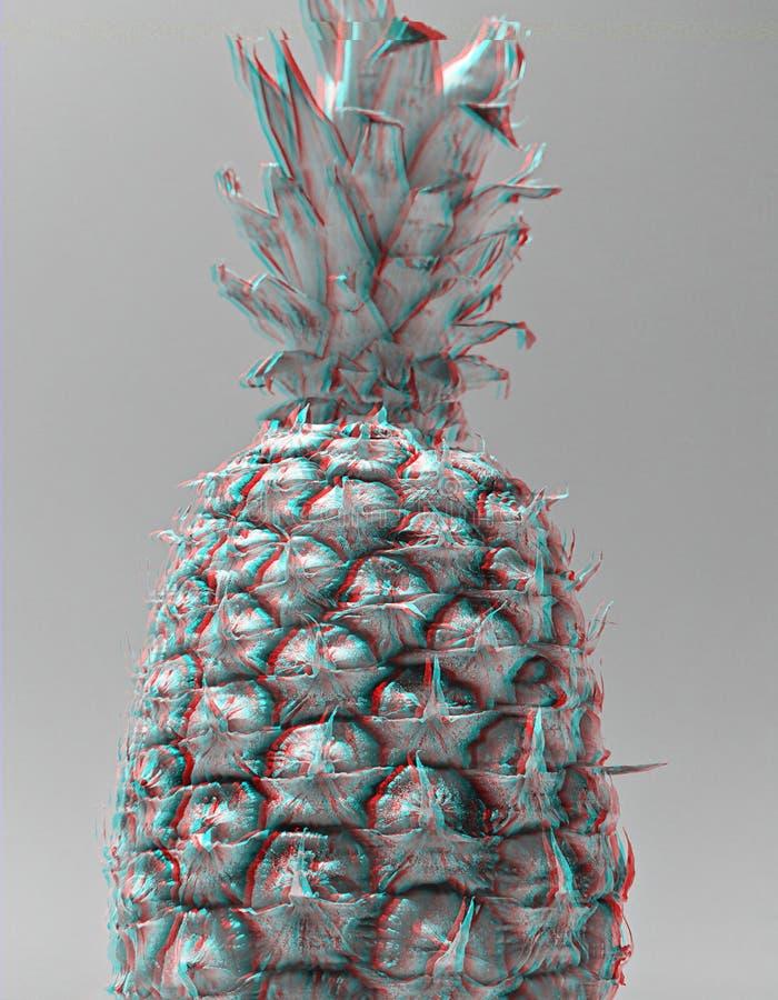 Abstracte zwart-witte ananas met digitaal signaalglitch effect stock afbeelding