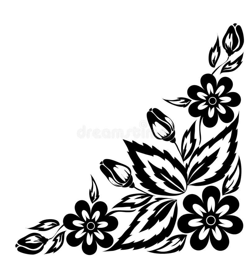 Abstracte zwart-witte bloemenregeling in de vorm van grenshoek stock illustratie