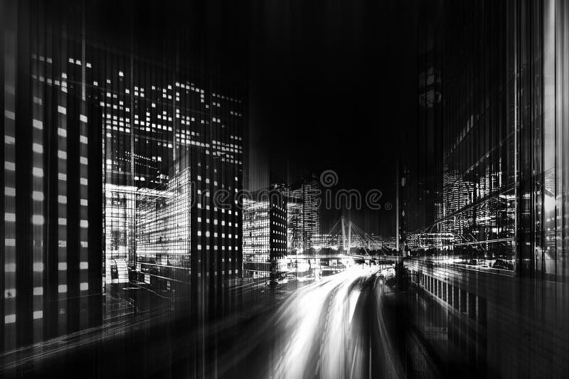 Abstracte zwart-witte foto van een stad royalty-vrije stock afbeeldingen