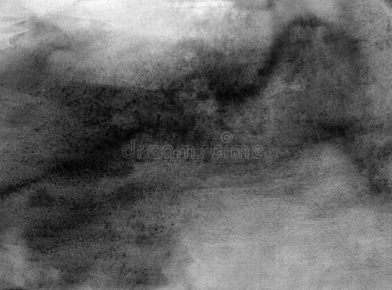 Abstracte zwart-witte geschilderde waterverf royalty-vrije illustratie
