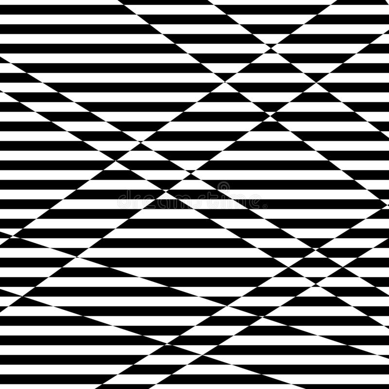Abstracte zwart-witte gestreepte achtergrond Geometrisch patroon met visueel vervormingseffect stock illustratie