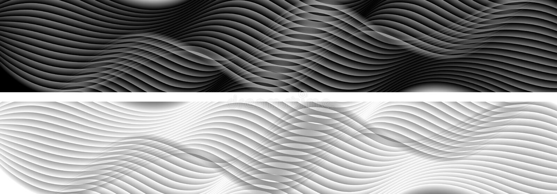 Abstracte zwart-witte golvende banners royalty-vrije illustratie