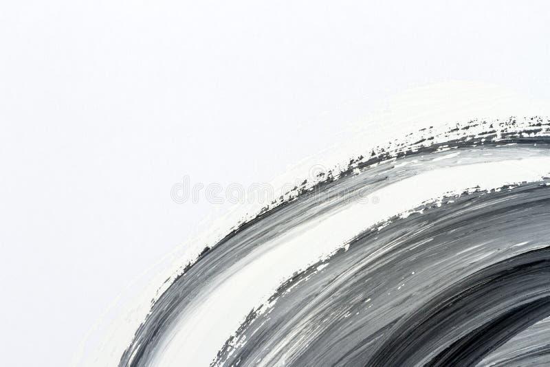 Abstracte zwart-witte hand geschilderde achtergrond stock illustratie