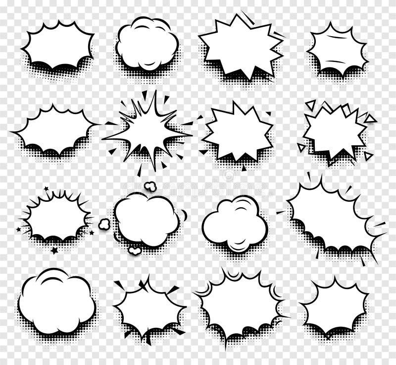 abstracte zwart-witte van de toespraakballons van de kleurenstrippagina de pictogrammeninzameling op geruite achtergrond, dialoog stock illustratie