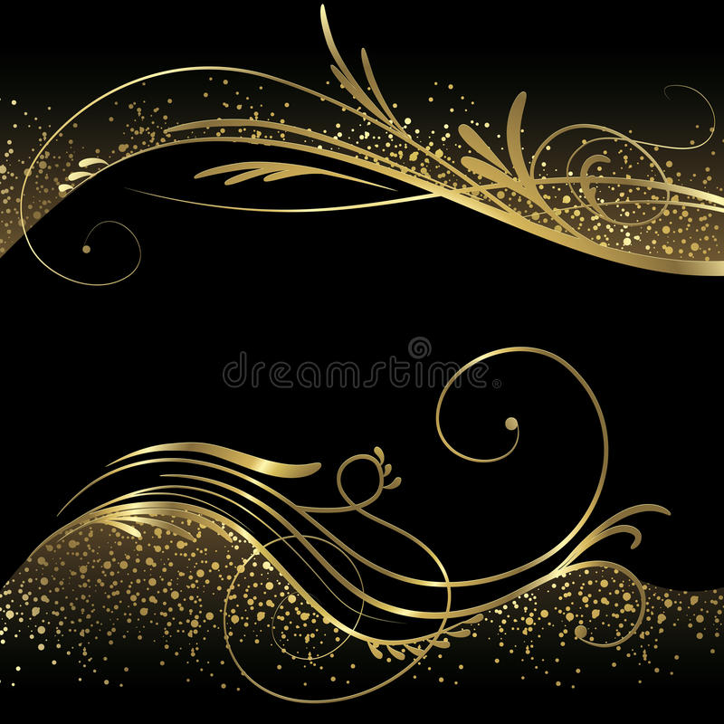 Abstracte zwarte en gouden achtergrond royalty-vrije illustratie