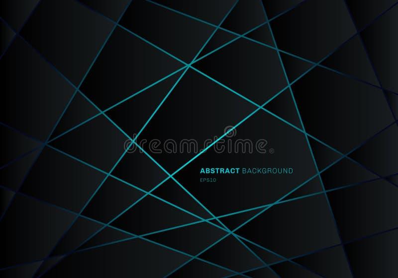 Abstracte zwarte geometrische veelhoek op de blauwe lichte achtergrond van het het ontwerpconcept van de neon futuristische techn royalty-vrije illustratie