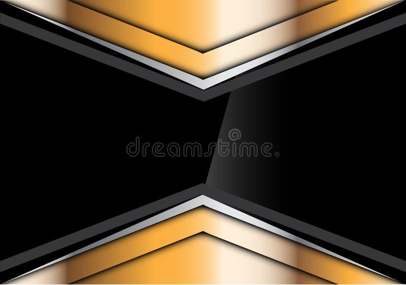 Abstracte zwarte glanzend in gouden zilveren van het pijlontwerp moderne futuristische creatieve vector als achtergrond stock illustratie
