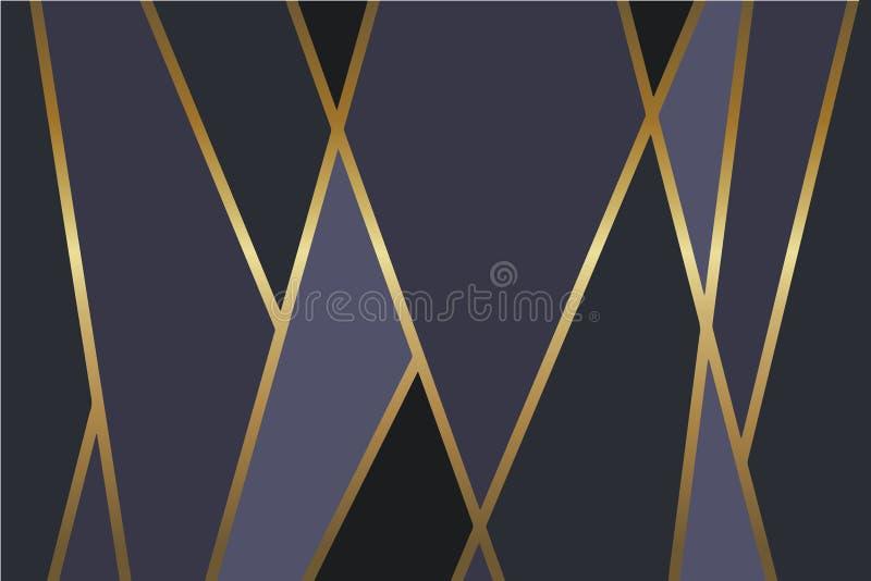 Abstracte zwarte, grijze en donkerblauwe vectorachtergrond met glanzende metaal gouden lijnen royalty-vrije illustratie
