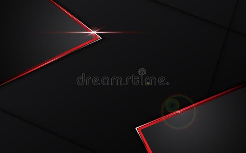 Abstracte zwarte met rode van het de lay-outontwerp van het kadermalplaatje het conceptenachtergrond van technologie stock illustratie