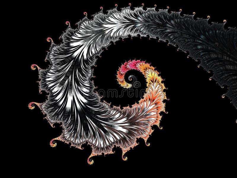 Abstracte zwarte, rode en gele geweven spiraalvormige 3d fractal, geeft voor affiche, ontwerp en vermaak terug Achtergrond voor b vector illustratie