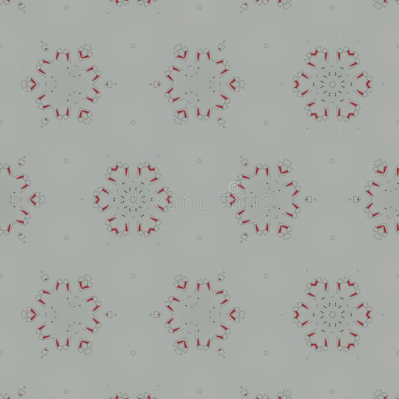 Abstracte zwarte, witte, grijze, rode digitale achtergrond met cybernetische deeltjes royalty-vrije illustratie