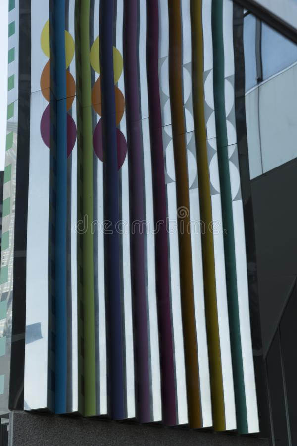Abstracted Building Reflections in Chicago 1. Abstract of building architecture and reflections in the Chicago loop. Consists of vertical lines and colorful royalty free stock images