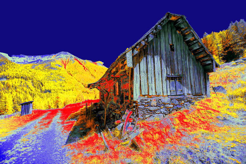 Abstracted Hut. A hut in the mountains, abstracted in colors. The shot was taken in infrared light and afterwards processed by computer royalty free stock image