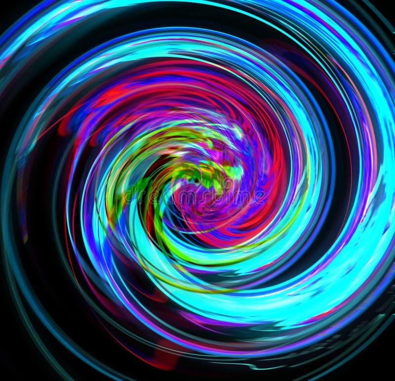 Abstractfu blauwe spiraal met een complexe filamentary structuur op zwarte achtergrond Fractal grafische kunst stock afbeelding