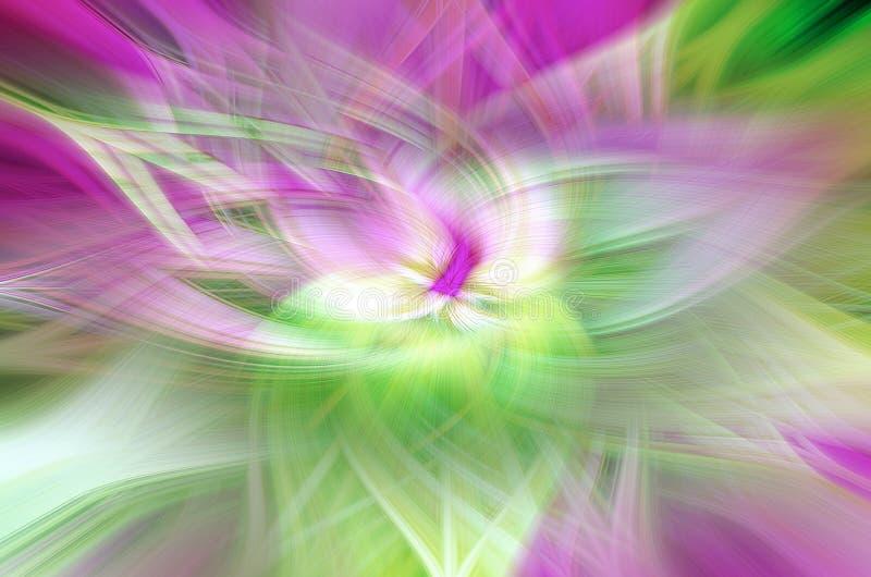 Abstractie in de vorm van bloemblaadjes op een zwarte achtergrond, kosmische illusies royalty-vrije illustratie