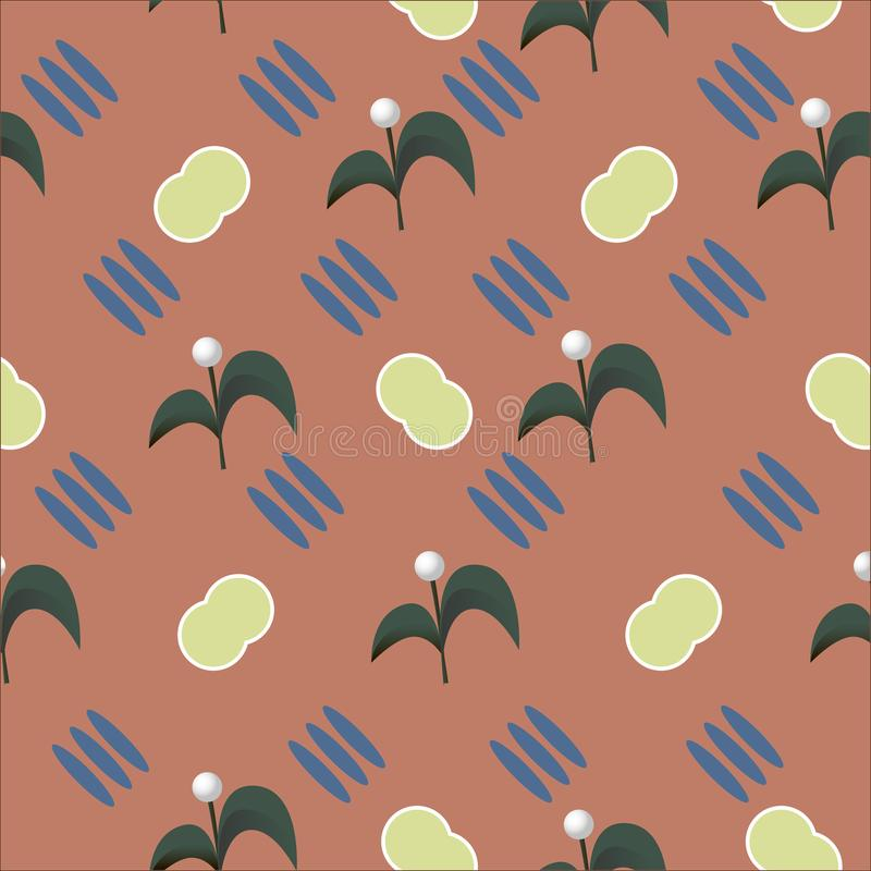 Abstractie naadloos patroon met hand getrokken takkenbloemen en geometrische vormen Vector illustratie vector illustratie