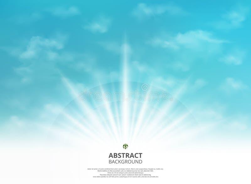 Abstractie van het lichteffect van de de zomerzon voor zachte gradiënt groenachtig blauwe hemel met de achtergrond van de wolkenu stock illustratie
