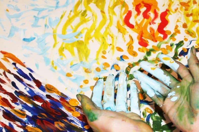 Abstractietekening na een kunsttherapie stock fotografie