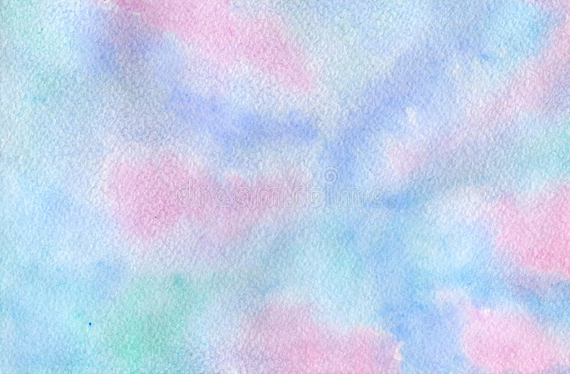 Abstraction1. Abstract pink, blue and green colors, watercolor and paper texture royalty free illustration
