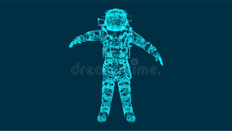 Abstraction with astronaut in the space, consisting of lines and shapes, connection wireframe concept, vector royalty free illustration
