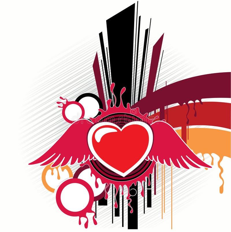 Abstraction avec le dessin-modèle de coeur illustration libre de droits