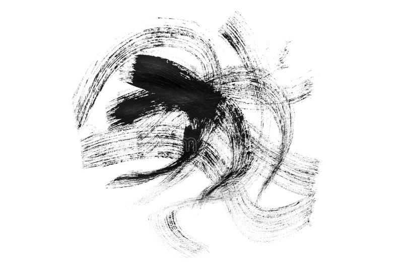 Abstraction for a background, drawing black paint on a white isolated background, the whole frame royalty free stock image