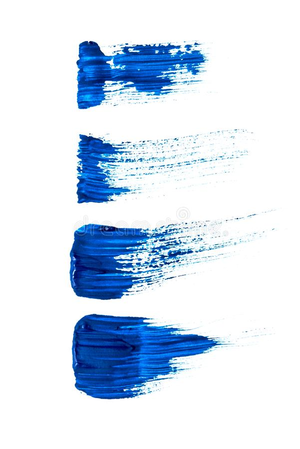 Abstraction for background, drawing three lines of blue paint on a white isolated background royalty free stock images